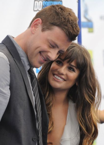 Glee star Cory Monteith with co star and girlfriend Lea Michele